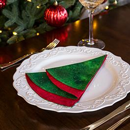 Simple DIY Folded Christmas Tree Napkin